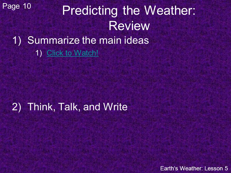 Predicting the Weather: Review