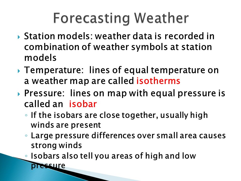 Forecasting Weather Station models: weather data is recorded in combination of weather symbols at station models.