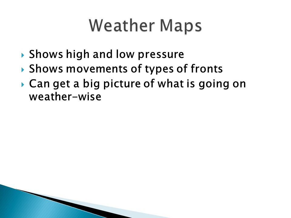 Weather Maps Shows high and low pressure