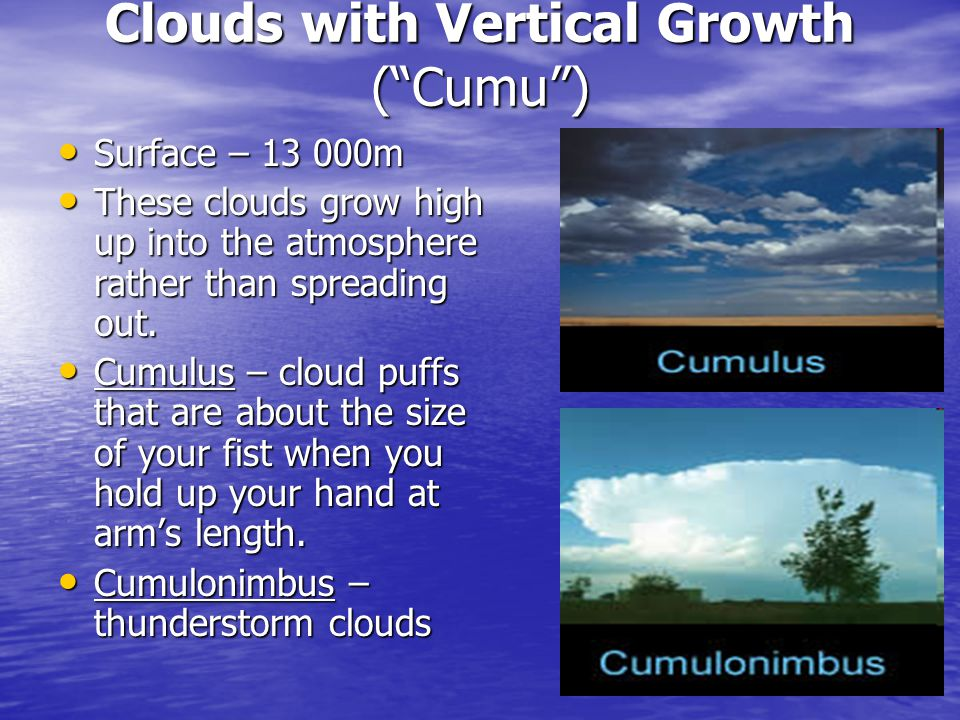 Clouds with Vertical Growth ( Cumu )
