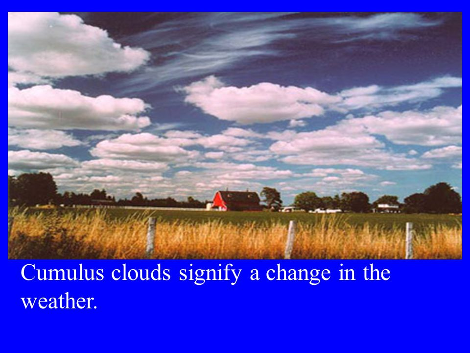 Cumulus clouds signify a change in the weather.