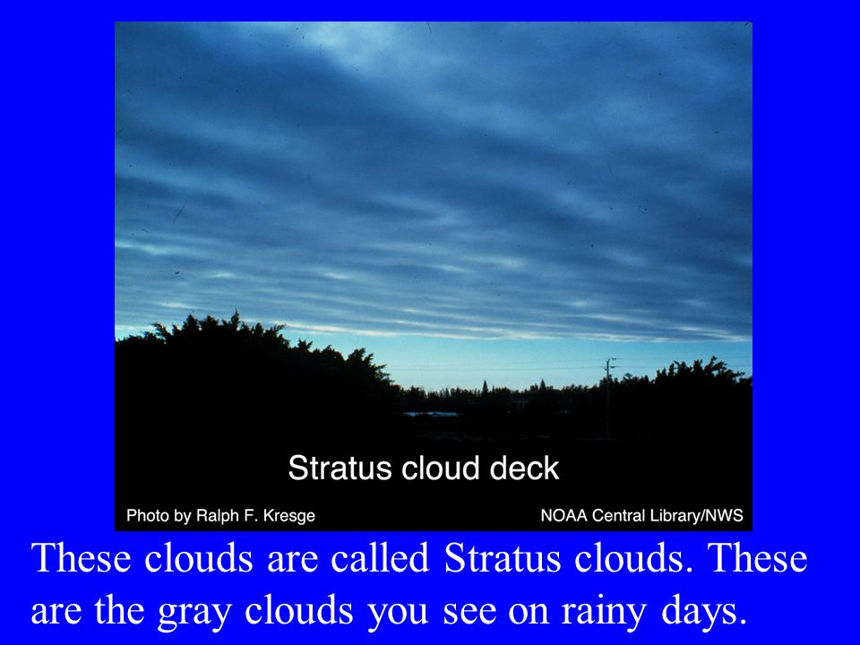 These clouds are called Stratus clouds