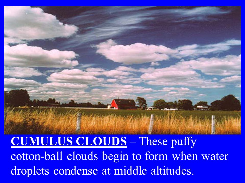 CUMULUS CLOUDS – These puffy cotton-ball clouds begin to form when water droplets condense at middle altitudes.