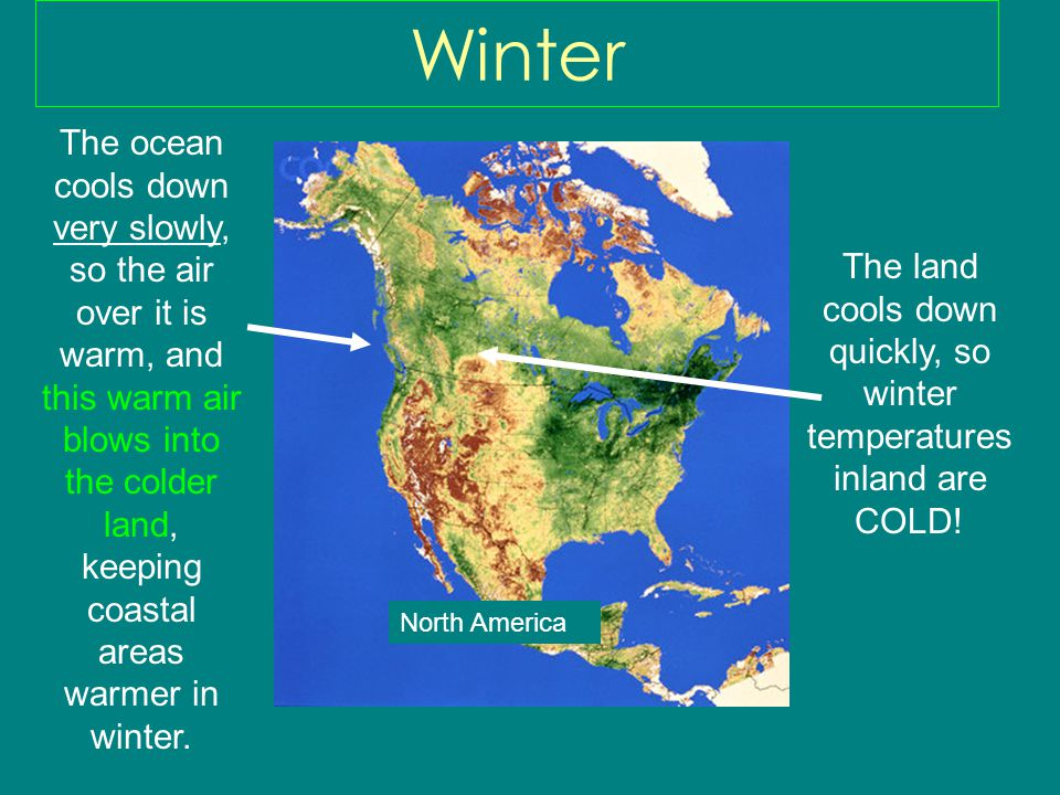 The land cools down quickly, so winter temperatures inland are COLD!
