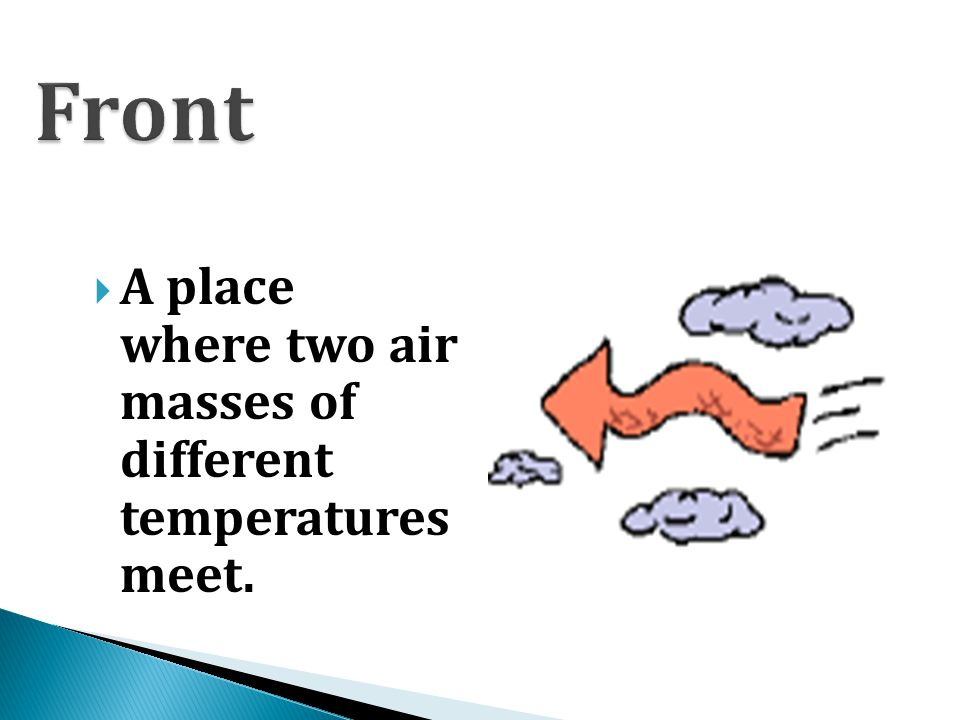 Front A place where two air masses of different temperatures meet.