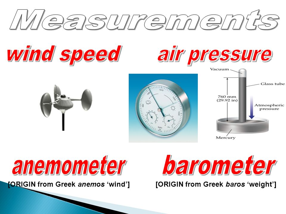 Measurements wind speed air pressure anemometer barometer