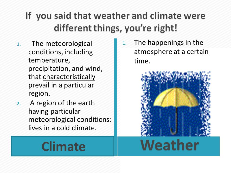 If you said that weather and climate were different things, you're right!
