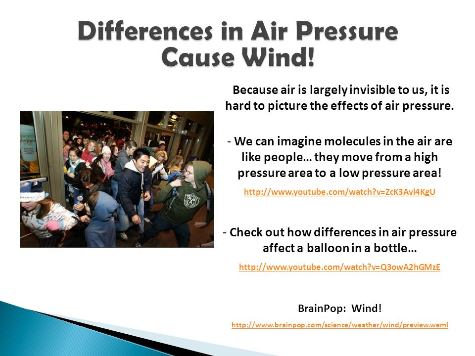 Differences in Air Pressure Cause Wind!