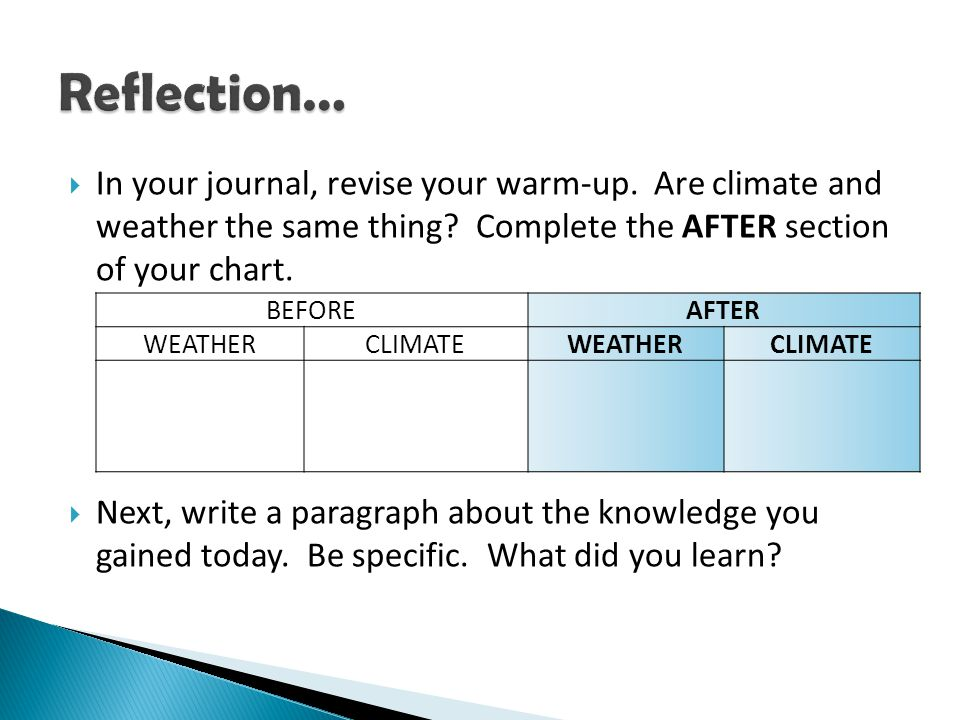 Reflection… In your journal, revise your warm-up. Are climate and weather the same thing Complete the AFTER section of your chart.