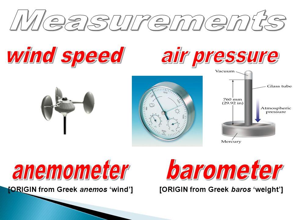 Measurements wind speed air pressure anemometer barometer