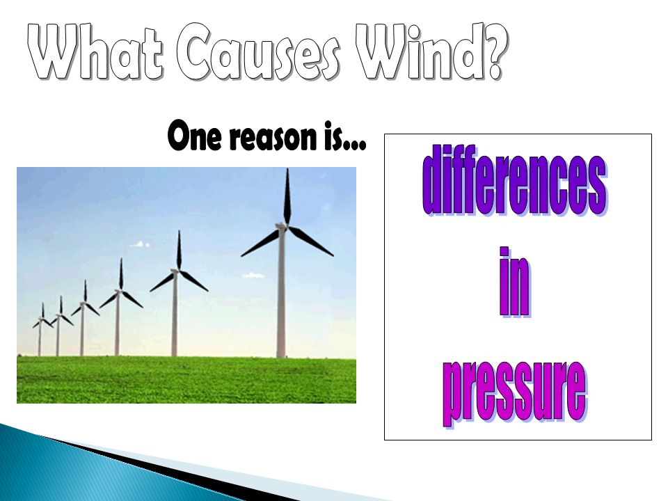 What Causes Wind One reason is… differences in pressure