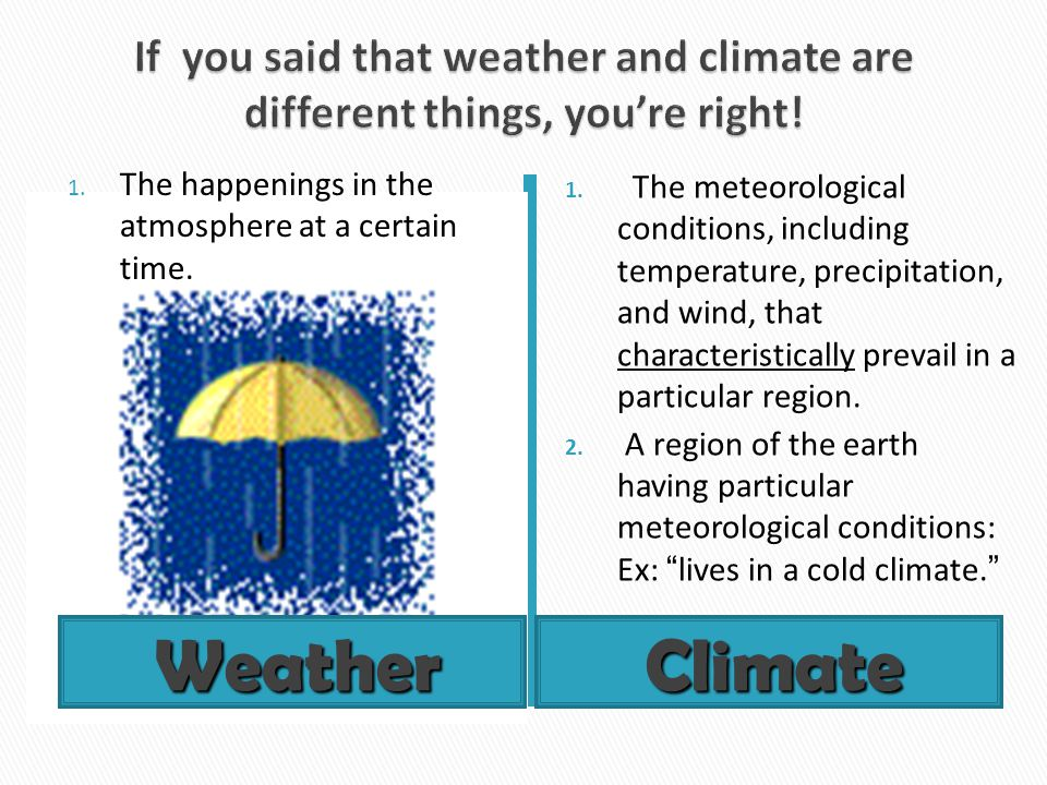 If you said that weather and climate are different things, you're right!