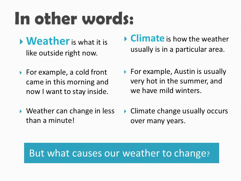 In other words: Weather is what it is like outside right now.