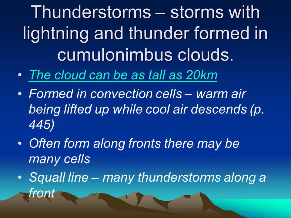 Thunderstorms – storms with lightning and thunder formed in cumulonimbus clouds.