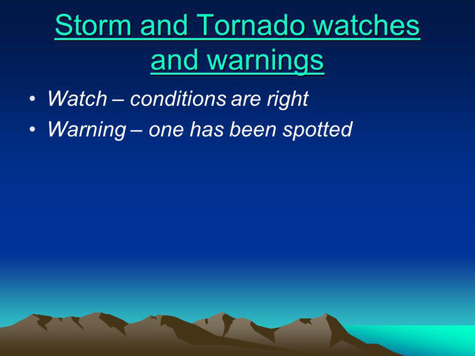 Storm and Tornado watches and warnings