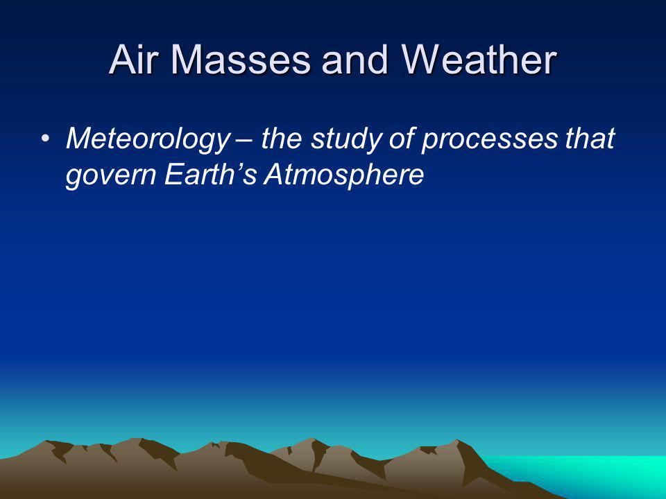 Air Masses and Weather Meteorology – the study of processes that govern Earth's Atmosphere