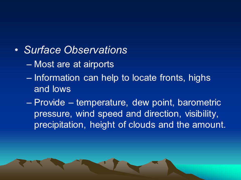 Surface Observations Most are at airports