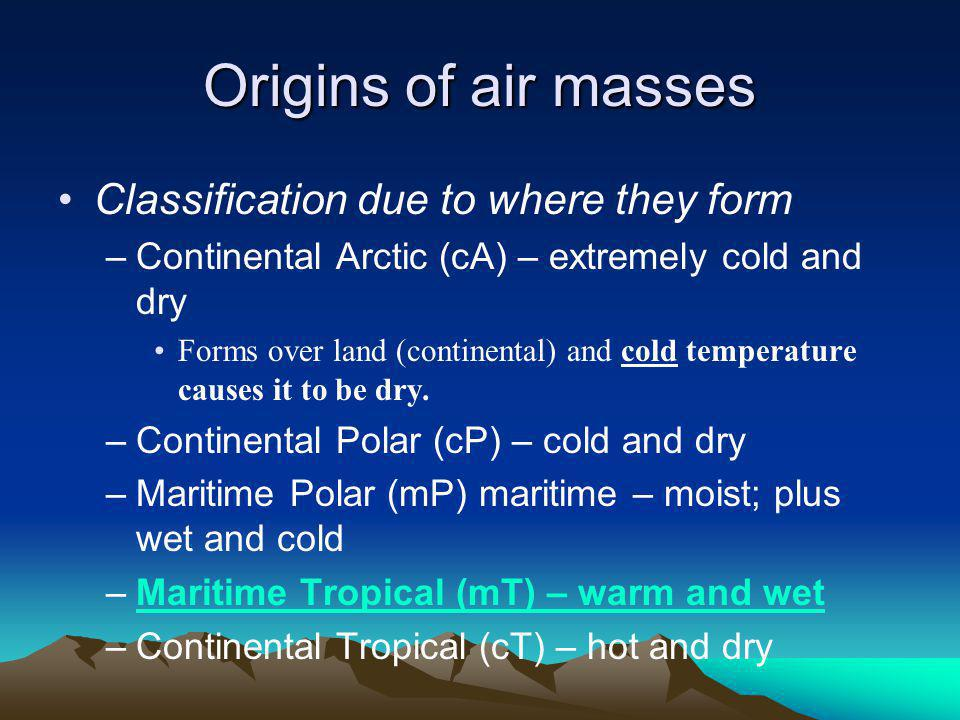 Origins of air masses Classification due to where they form