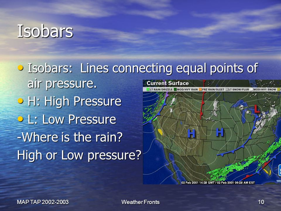 Isobars Isobars: Lines connecting equal points of air pressure.