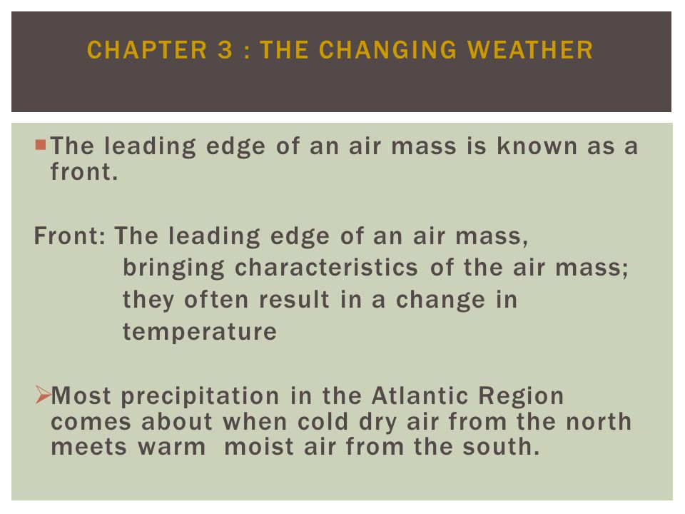 Chapter 3 : The Changing Weather
