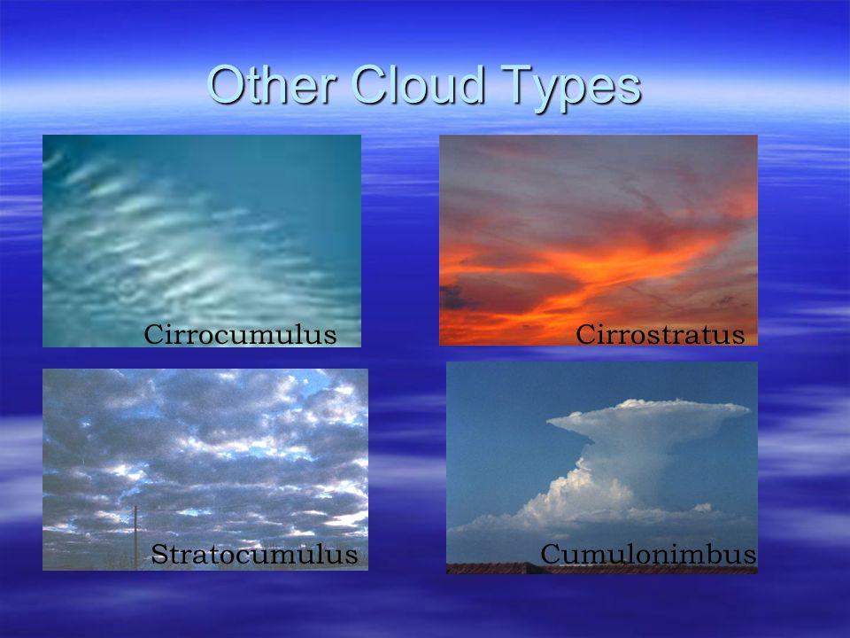 Other Cloud Types Cirrocumulus Cirrostratus Stratocumulus Cumulonimbus