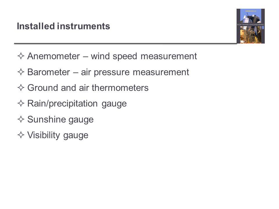 Installed instruments