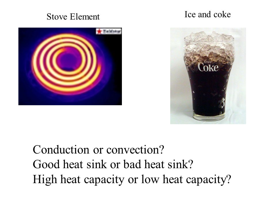 Conduction or convection Good heat sink or bad heat sink