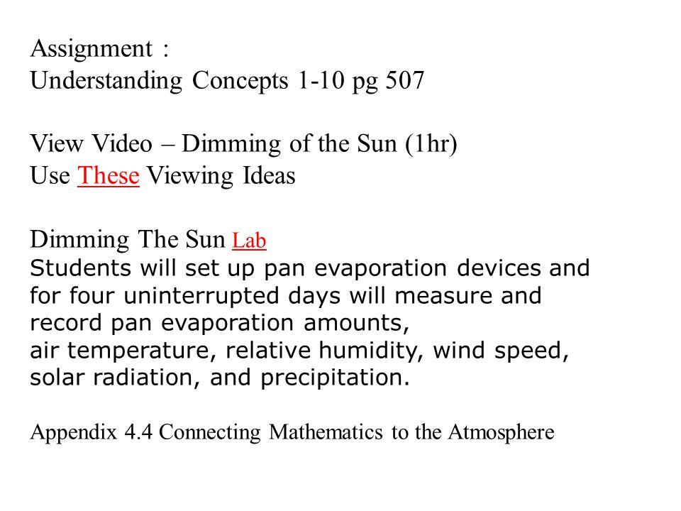 Understanding Concepts 1-10 pg 507