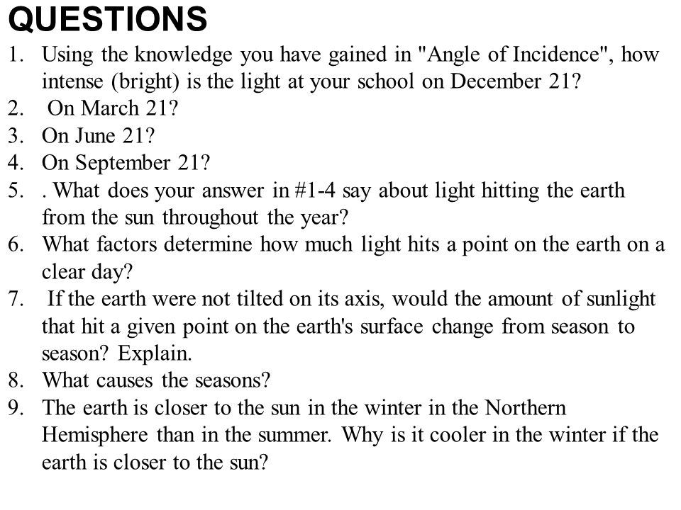 QUESTIONS Using the knowledge you have gained in Angle of Incidence , how intense (bright) is the light at your school on December 21