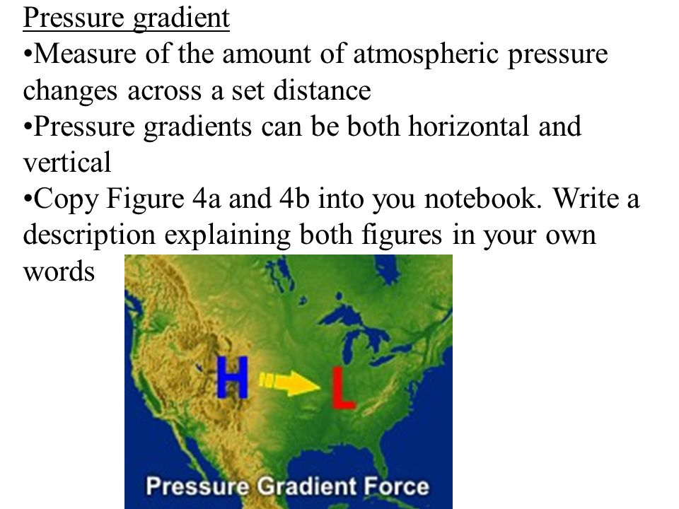 Pressure gradient Measure of the amount of atmospheric pressure changes across a set distance.