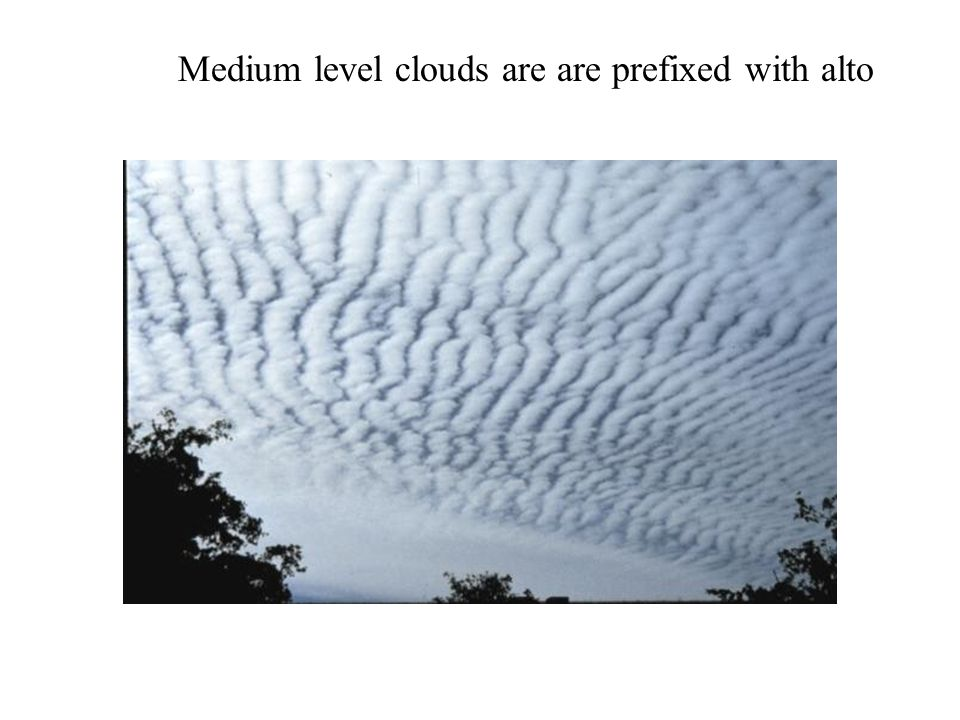 Medium level clouds are are prefixed with alto