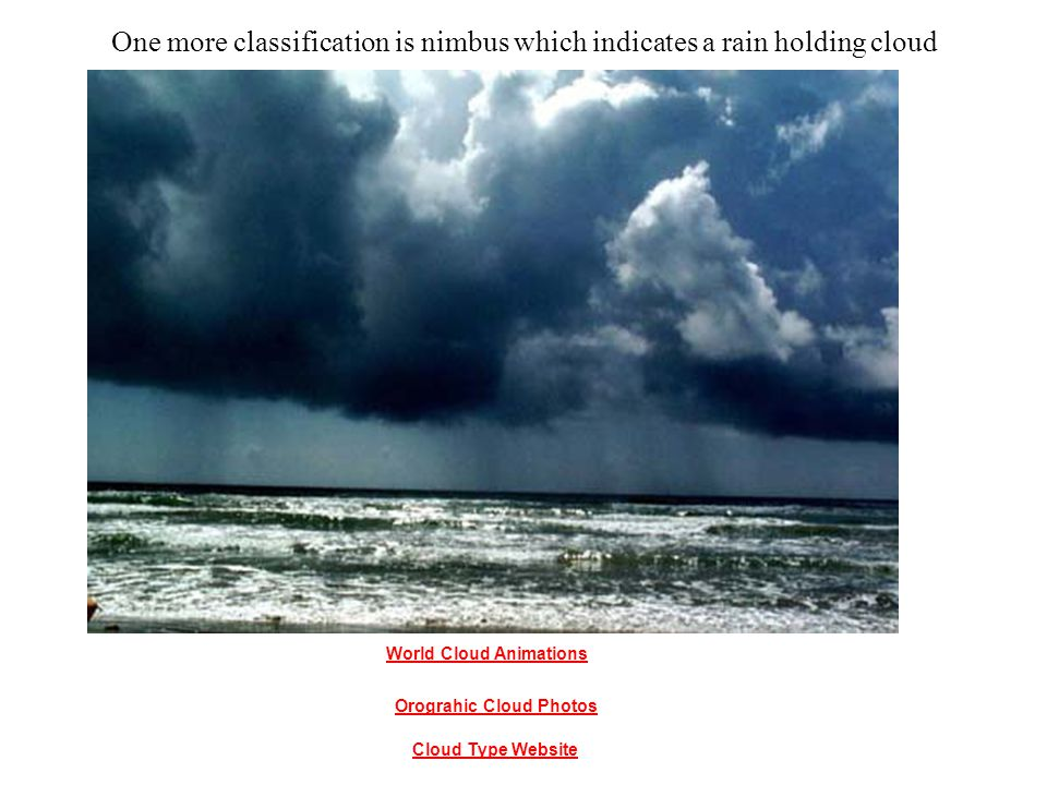 One more classification is nimbus which indicates a rain holding cloud