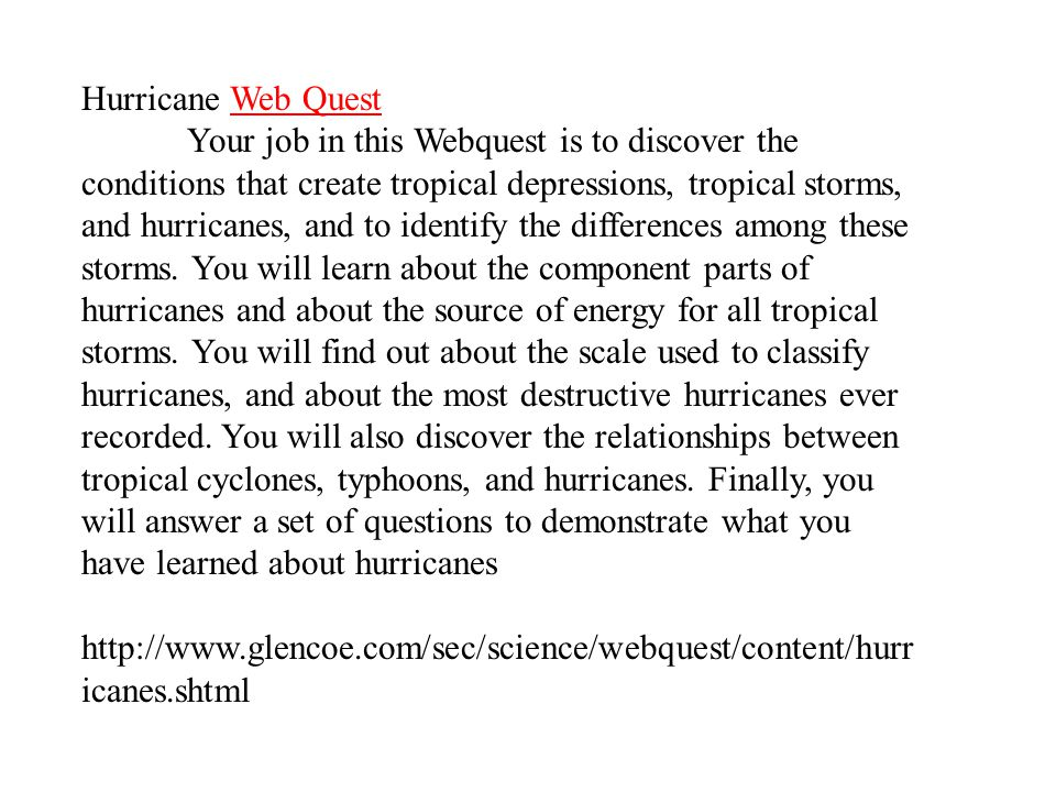 Hurricane Web Quest