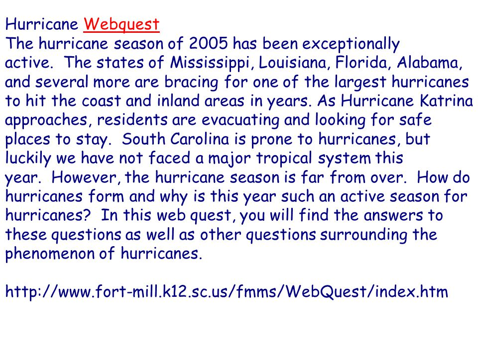 Hurricane Webquest
