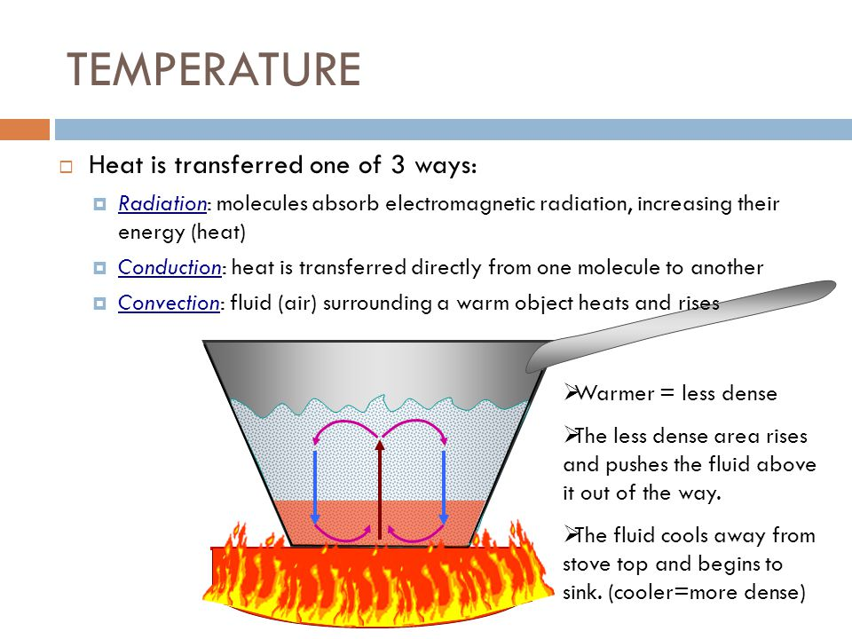 TEMPERATURE Heat is transferred one of 3 ways: