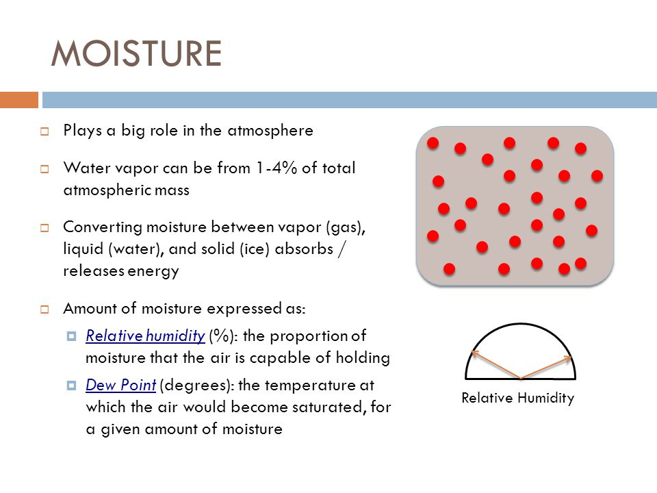MOISTURE Plays a big role in the atmosphere