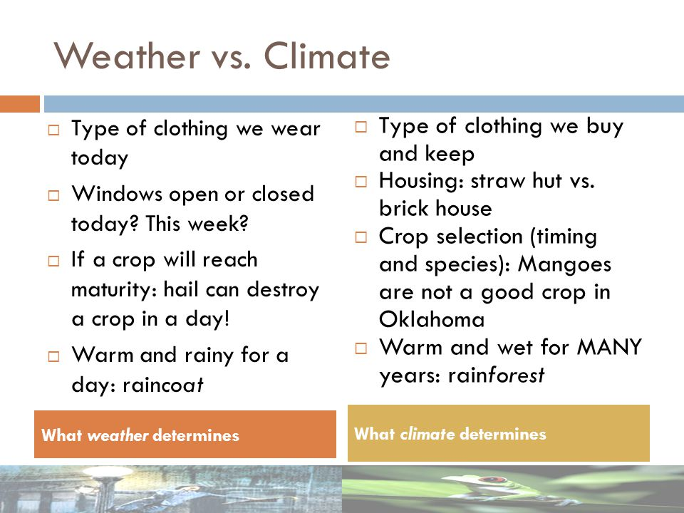 Weather vs. Climate Type of clothing we buy and keep