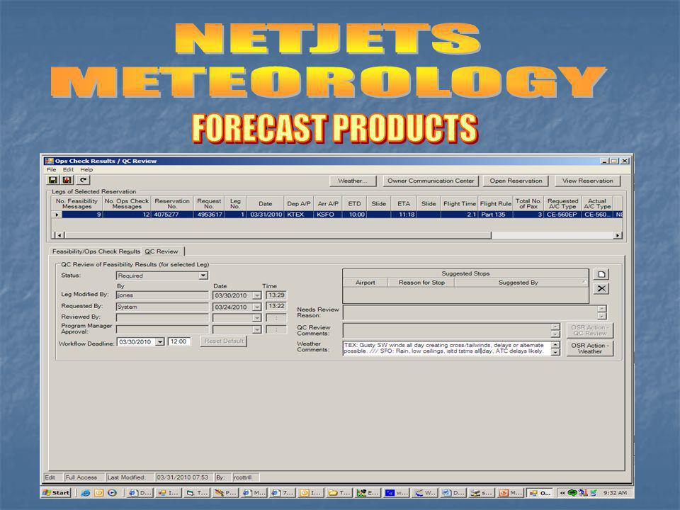 NETJETS METEOROLOGY FORECAST PRODUCTS