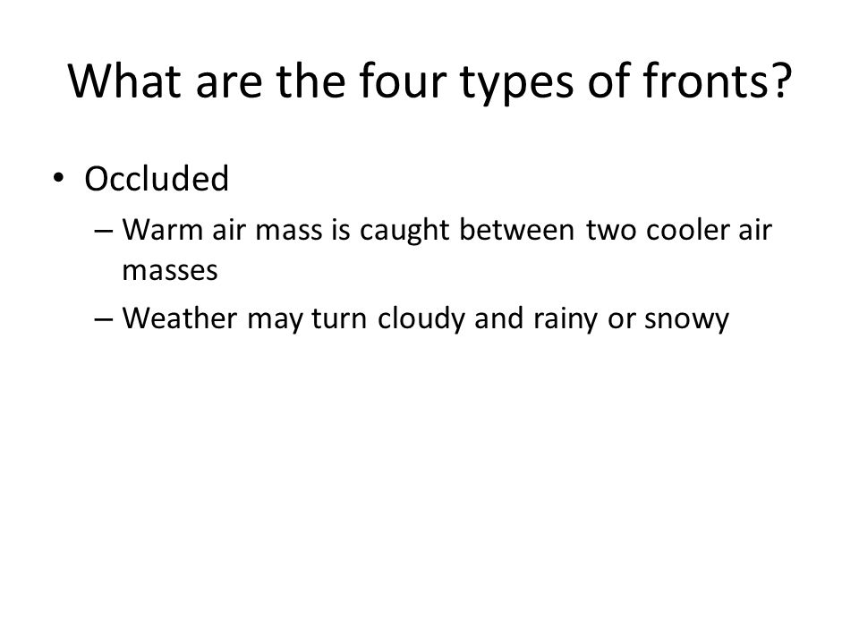 What are the four types of fronts