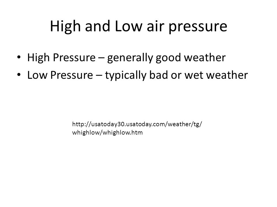 High and Low air pressure