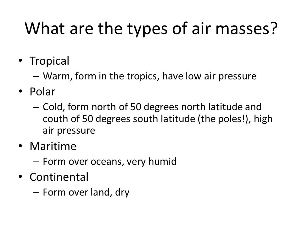 What are the types of air masses