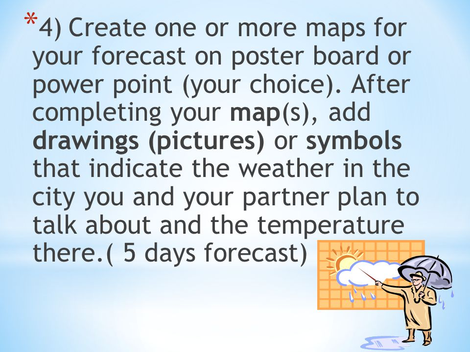 4) Create one or more maps for your forecast on poster board or power point (your choice).