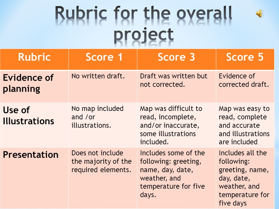 Rubric for the overall project
