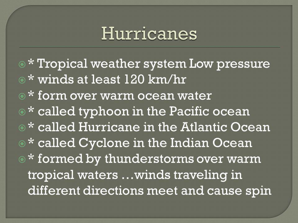 Hurricanes * Tropical weather system Low pressure
