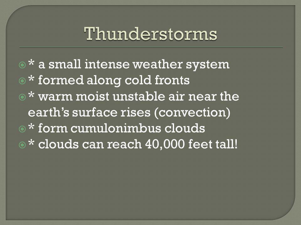 Thunderstorms * a small intense weather system