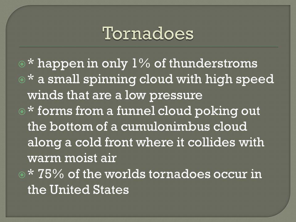 Tornadoes * happen in only 1% of thunderstroms