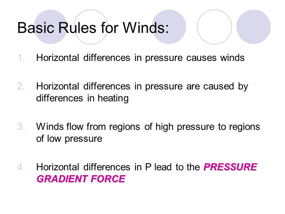 Basic Rules for Winds: Horizontal differences in pressure causes winds