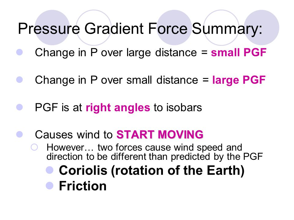 Pressure Gradient Force Summary: