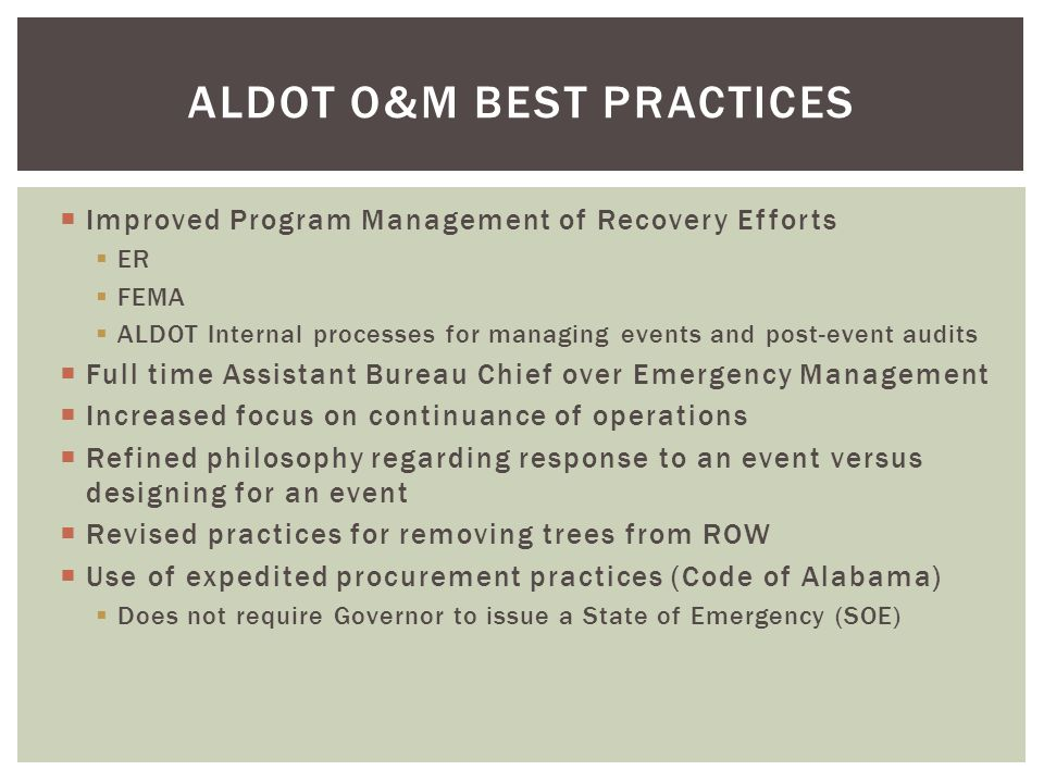 ALDOT O&M Best Practices