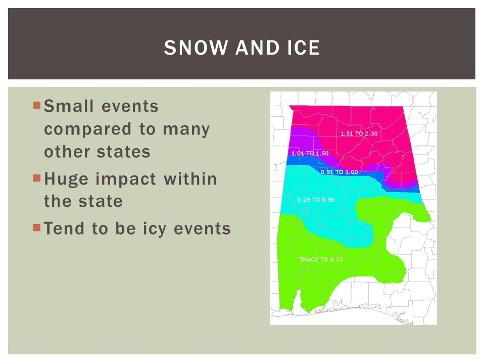 Snow and Ice Small events compared to many other states